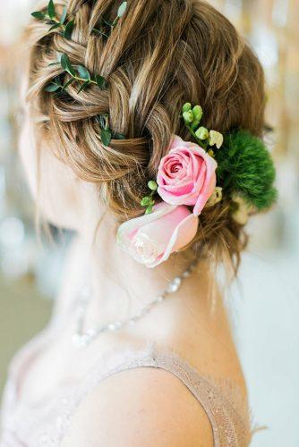 wedding hairstyles with flowers braided updo with gentle rose alexisjunewed via instagram