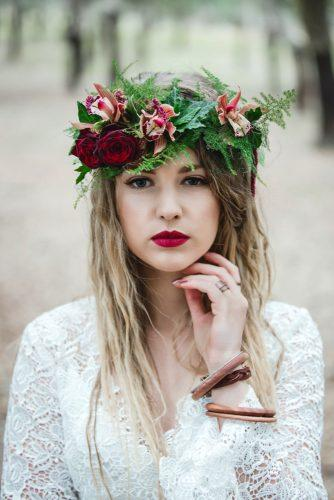 wedding hairstyles with flowers crown with greenery orchid and roses estella photography