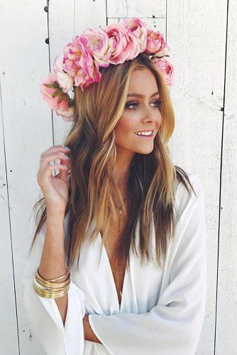 wedding hairstyles with flowers crown with pink roses hannahg11 via instagram