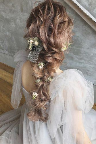 wedding hairstyles with flowers long hair curly braid with flowers and ribbons hikaru_jilljanne