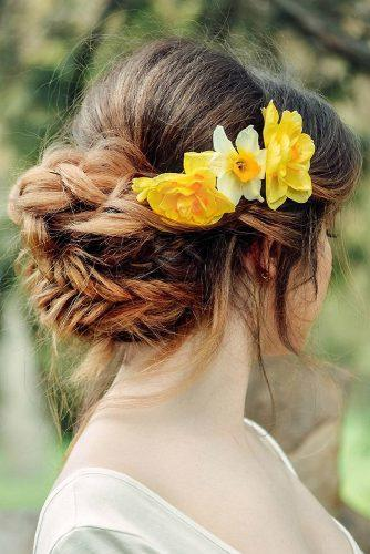 wedding hairstyles with flowers narcissus yellow elegant updo with schastlivtsevabrowandhair via instagram