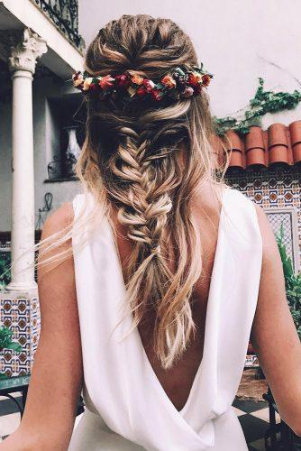 wedding hairstyles with flowers on blonde hair half up half down with braids boho bride cruz.makeup