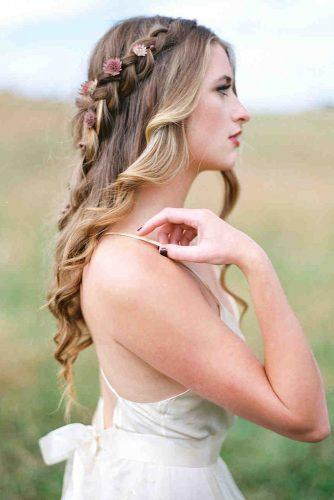 wedding hairstyles with flowers small pink on blonde hair half up half down with braids amelia johnson