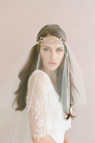 wedding hairstyles with veil and gold halo on loose brown long hair elizabeth messina