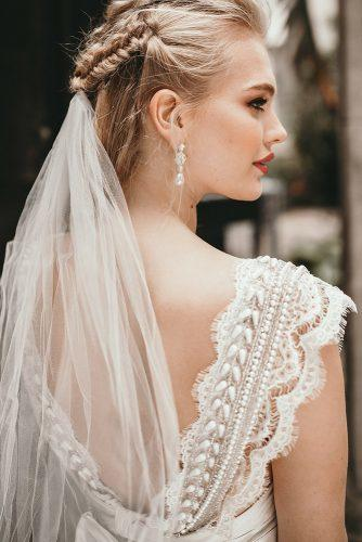 wedding hairstyles with veil braided half up half down on blonde hair benjaminwheeler