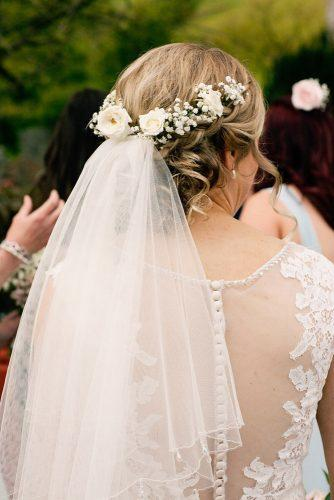wedding hairstyles with veil curly blonde hair greenery halo jo bradbury