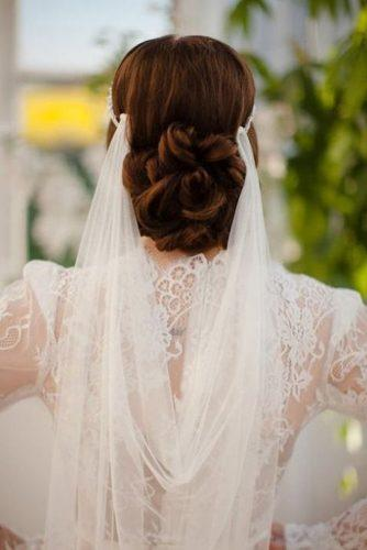 wedding hairstyles with veil low bun on brown hair janniebaltzer