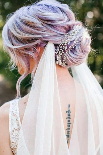 wedding hairstyles with veil on lilac hair low bun hair and makeup girl via instagram