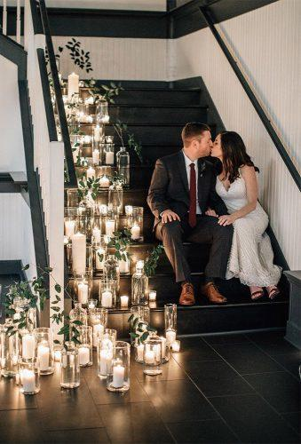 wedding light ideas couple on stairs and candlies bethanysmallphoto