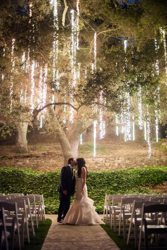 wedding light kiss of the bride and groom against the background of a tree decorated with cascade lights shewanders photography