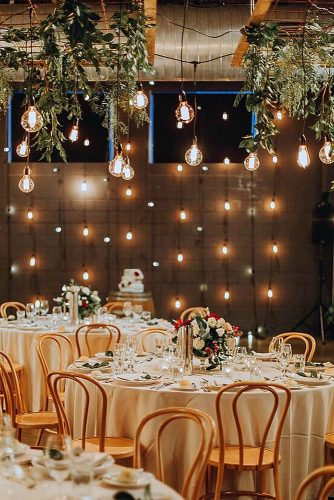 wedding light reception decorated with light bulbs and luminous garlands avideas event designers via instagram