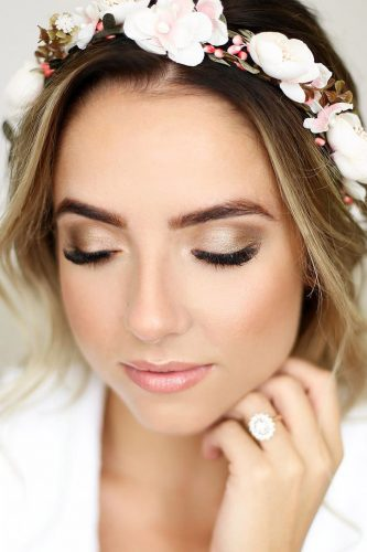 wedding makeup blush with flower crown marisarosemph