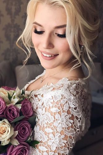 wedding makeup matte lips blond hair verafursova