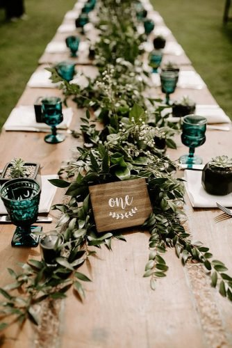 wedding table decorations bold greenery table runner ethnic dark glasses eco friendly wooden table number dawn.charles