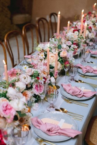 wedding table decorations flower bright tablerunner with candles davidandkathrin