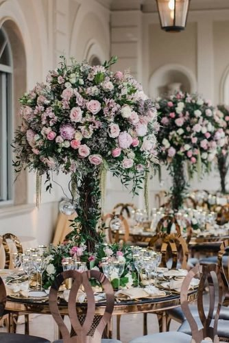 wedding table decorations greenery roses tall tree centerpiece daniele_pierangel