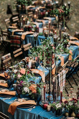 wedding table decorations long zig zag outdoor with greenery flowers and fruits joshhartmanphotography