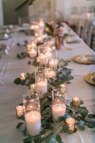 wedding table decorations white candle tablerunner with greenery courtneyinghram