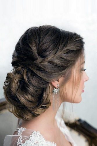 wedding updos with braids low hairstyle with a french braid elstile via instagram