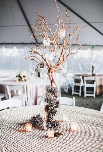 winter wedding decorations winter centerpiece win candles Teale Photography
