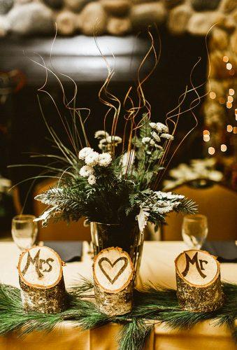 winter wedding decorations wood centerpiece Molly Jo Collection