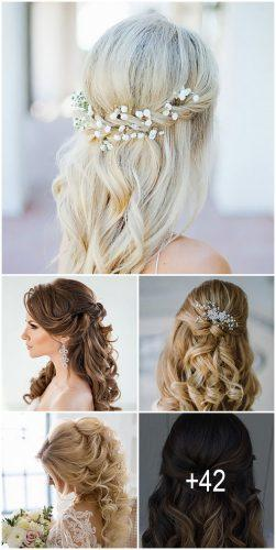 42 Half Up Half Down Wedding Hairstyles Ideas Wedding Forward