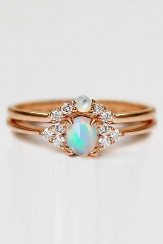 opal engagement rings oval cut opal rings rose gold engagement rings unique engagement rings wedding ring sets studandstuff