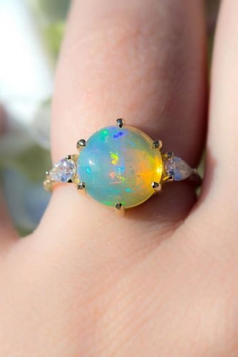 opal engagement rings round cut opal rings rose gold engagement rings three stone engagement rings beautiful engagement rings skindco