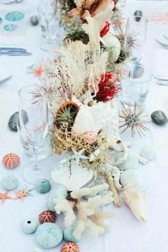 beach wedding decoration centerpiece with coral with marine plants igloophoto