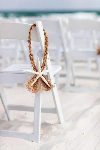 beach wedding decoration ideas starfish decor for chairs on wedding ceremony aislinn kate photography