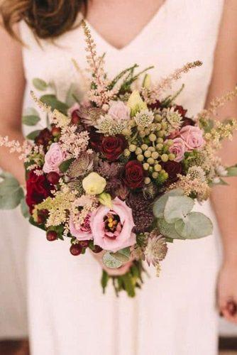 beautiful wedding bouquets bohemian burgundy and pink roses wildflowers thesweetdays