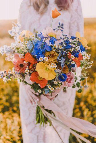 beautiful wedding bouquets bright wildflowers and ribbons san luis obispo photographer via instagram