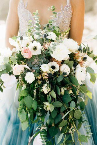 beautiful wedding bouquets cascading greenery with pink roses succulents jennabechtholt