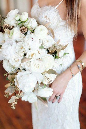 beautiful wedding bouquets cascading with white flowers and gold leaves amanda jameson weddings