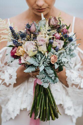 beautiful wedding bouquets small bohemian roses and leaves tahnee jade photography