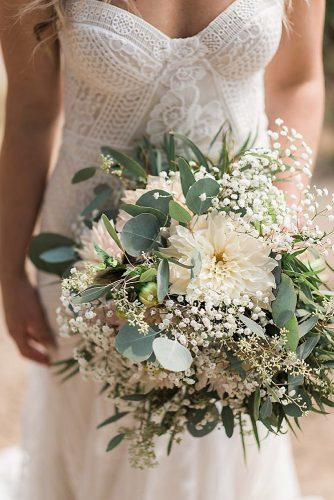 beautiful wedding bouquets small greenery with dahlia and baby breeth bjonesphotos