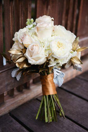 beautiful wedding bouquets small with roses and gold leaves sharaya mauck photography