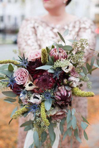beautiful wedding bouquets with burgundy protea and rose roses fiftyflowers via instagram