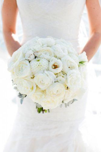 beautiful wedding bouquets with white roses and dahlias kaysha weiner photography
