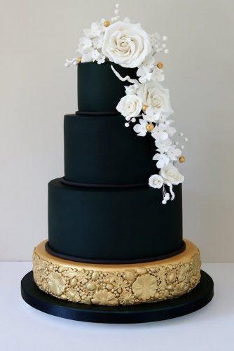 black and white wedding cakes black cake gold white rose Laura Loukaides