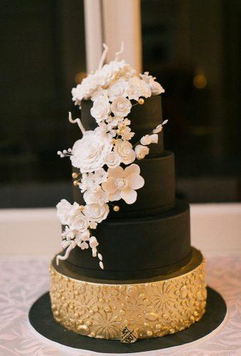 black and white wedding cakes black cake with gold and flower themastersbaker