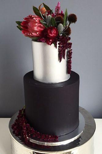 black and white wedding cakes cake with silver red flower alicebroadway cakedesign