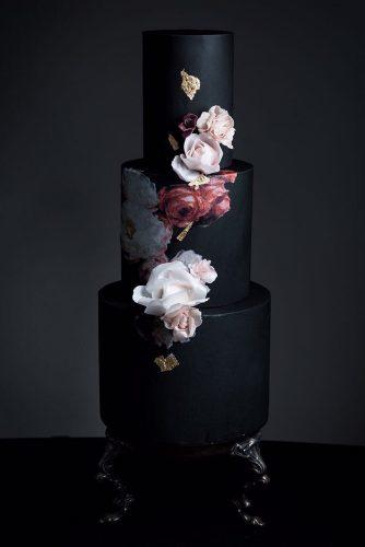black and white wedding cakes dark cake tender flower heytherecupcake