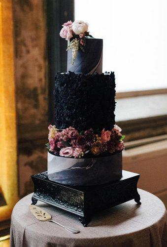 black and white wedding cakes dark cake with flower alicebroadway cakedesign