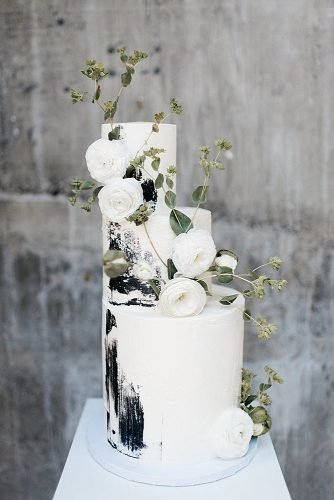 black and white wedding cakes modern cake with flowers