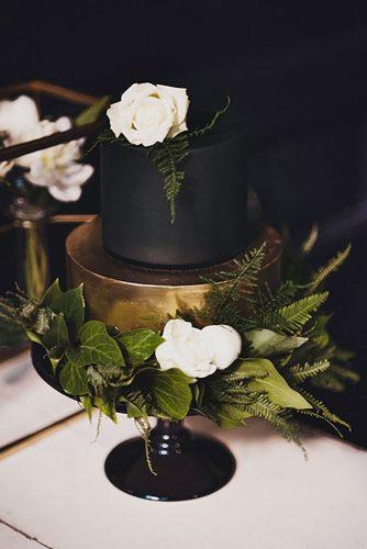 black and white wedding cakes stylish blsck cake small CJ Williams Photography