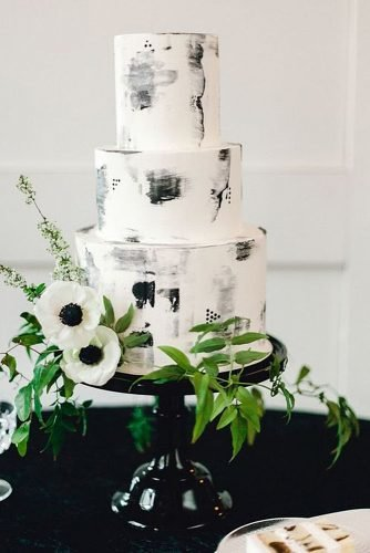 black and white wedding cakes stylish cake