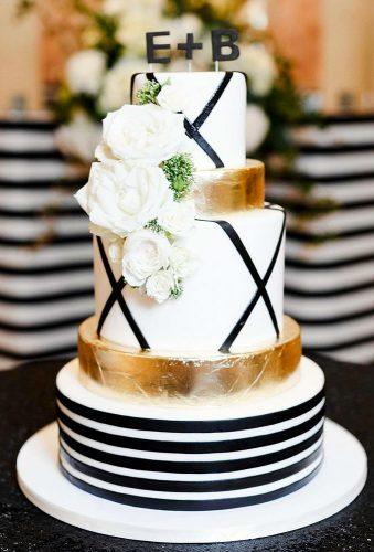 black and white wedding cakes tender cake with gold and flower sweetfix