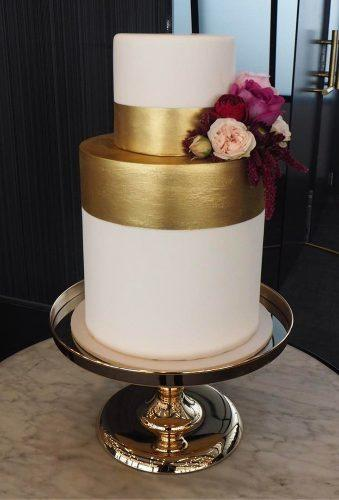 black and white wedding cakes white cake with gold alicebroadway cakedesign