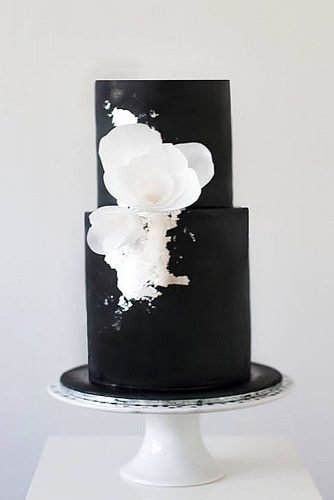 black and white wedding cakes with white flowers